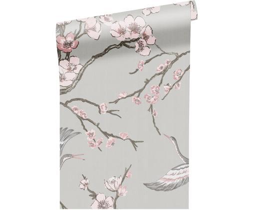 Tapete Japanese Flowers, Vlies, Grau, Rosa, Taupe, 52 x 1005 cm
