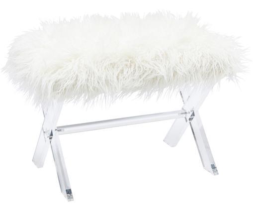 Kruk van kunstvacht Fur, Frame: acryl, Zitvlak: MDF, Bekleding: polyester, Frame: wit. Bekleding: wit, 65 x 42 cm