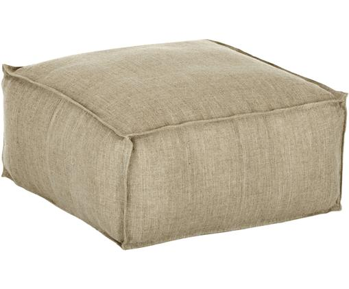 Ręcznie wykonana poduszka podłogowa z lnu Saffron, Tapicerka: len, Taupe, S 50 x W 25 cm