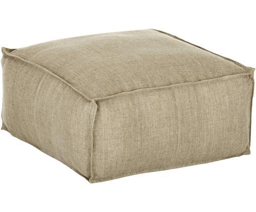 Cojín de suelo artesanal de lino Saffron, Funda: lino, Interior: algodón, Gris pardo, An 50 x Al 25 cm