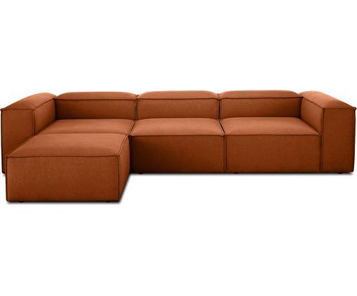 Canapé d'angle modulable dossier bas Lennon, Tissu terre cuite