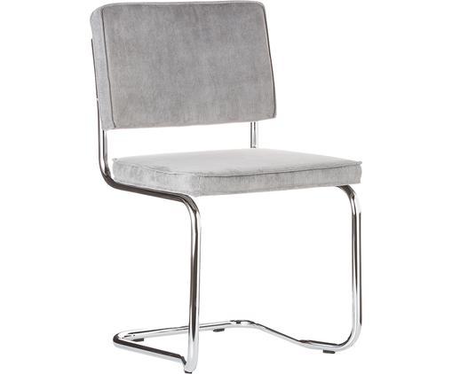 Sedia cantilever Ridge Kink Chair, Rivestimento: 88% nylon, 12% poliestere, Struttura: metallo, cromato Il rives, Grigio chiaro, Larg. 48 x Alt. 85 cm