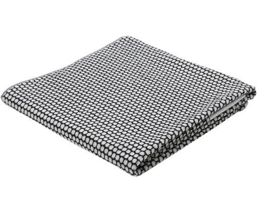 Gepunktetes Handtuch Grid, Schwarz, Gebrochenes Weiß, Duschtuch