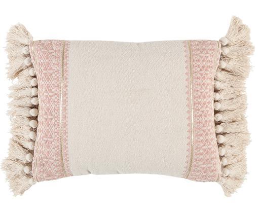 Cuscino fatto a mano con imbottitura Hektor, Bianco crema, rosa, Larg. 30 x Lung. 40 cm