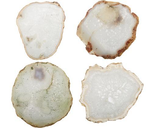 Komplet podstawek z agatu  Zoe, 4 elem., Agat, Biały, odcienie złotego, Ø 12 cm