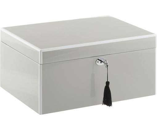 Schmuckbox Juliana mit Spiegel, Kästchen: Mitteldichte Holzfaserpla, Unterseite: Samt zur Schonung der Möb, Grau mit weißer Kante, 31 x 16 cm