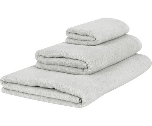 Lot de serviettes de bain unicolore Comfort, 3élém., Gris clair