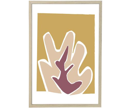 Stampa digitale incorniciata Kasja, Cornice: pannelli di fibra a media, Beige, bianco, rosa, giallo senape, Larg. 45 x Alt. 65 cm