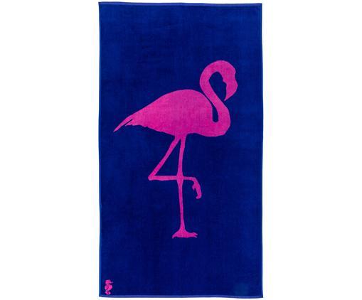 Ręcznik plażowy Flamingo, Kobaltowy, różowy, S 100 x D 180 cm