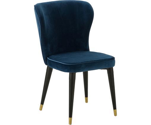 Krzesło tapicerowane z aksamitu Cleo, Tapicerka: aksamit (poliester) 5000, Nogi: metal lakierowany, Ciemny niebieski, 51 x 85 cm