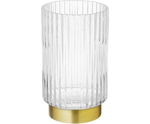 Vaso in vetro Lene, Vaso: vetro, Vaso: trasparente base: dorato, opaco, Ø 12 x Alt. 20 cm