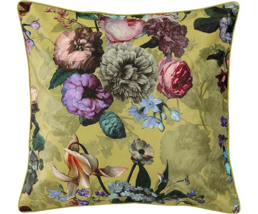 Samt-Kissen Fleur mit Blumenmuster, mit Inlett, Bezug: Polyestersamt, Goldgelb, Mehrfarbig, 50 x 50 cm