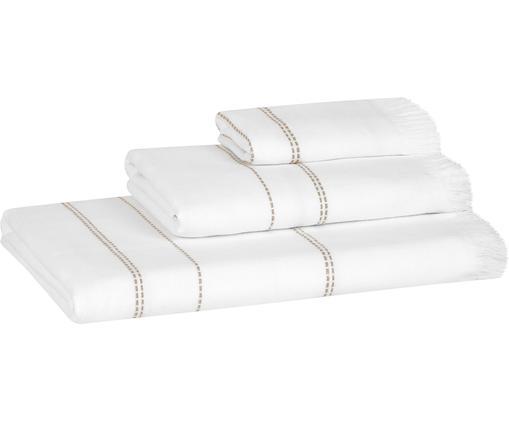 Set asciugamani Edda 3 pz, 100% cotone Qualità leggera 400g/m², Bianco, taupe, Diverse dimensioni