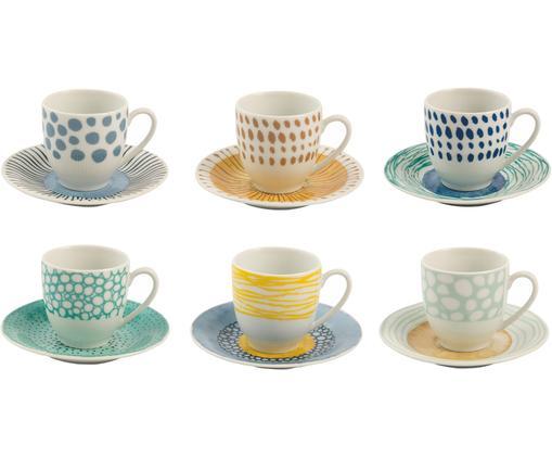 Espressotassen Marea, 12er-Set, Porzellan, Blau, Weiß, Gelb, Ø 6 x H 6 cm