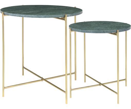 Set tavolini in marmo Freja, 2 pz., Verde, marmorizzato