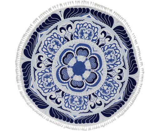 Telo mare Carouse, Blu, bianco, Ø 150 cm