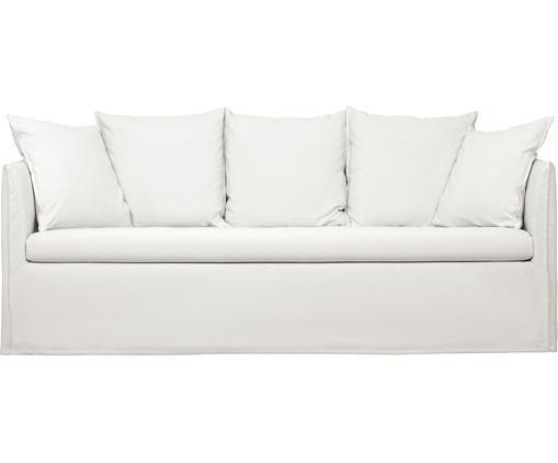 Sofá Mila (3plazas), Funda: algodón Resistencia a la , Estructura: madera de abeto maciza, Patas: plástico, Blanco crema, An 195 x F 82 cm