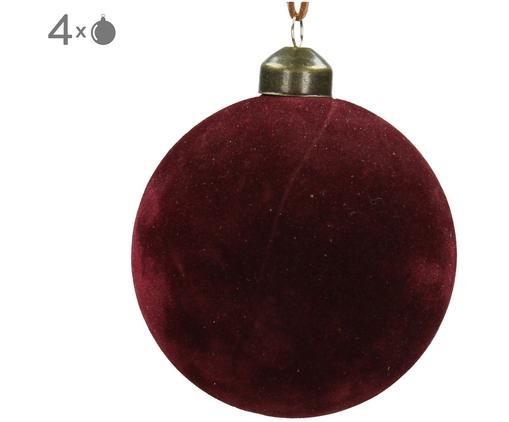 Weihnachtskugeln Velvet, 4 Stück, Glas, Polyestersamt, Dunkelrot, Ø 8 cm