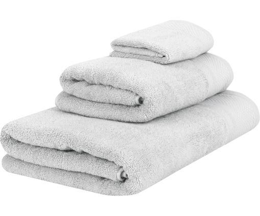 Set de toallas Premium, 3pzas., 100%algodón Gramaje superior 600g/m², Gris claro, Tamaños diferentes