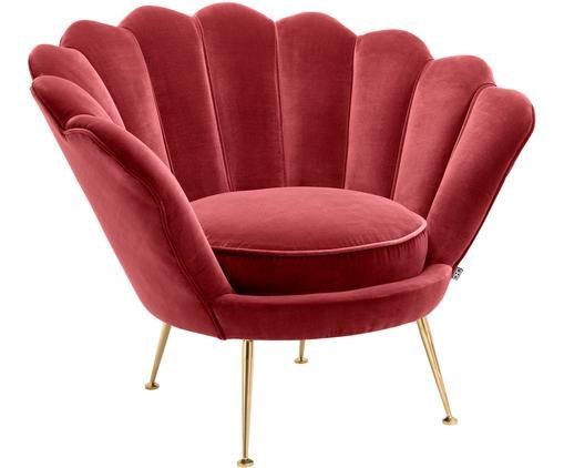 Fotel z aksamitu Trapezium, Tapicerka: 95% poliester, 5% aksamit, Nogi: stal szlachetna , pokryta, Ciemny czerwony, S 97 x G 79 cm