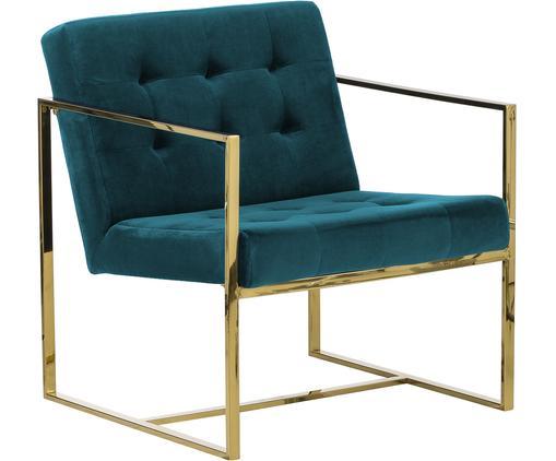 Sedia a poltrona in velluto Manhattan, Rivestimento: velluto (poliestere), Struttura: metallo, rivestito, Velluto blu petrolio, Larg. 70 x Prof. 72 cm