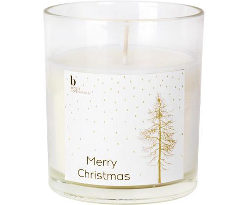 Duftkerze Cinnamon (Zimt, Kardamom), Behälter: TransparentDuftkerze: ElfenbeinEtikett: Weiß, Goldfarben