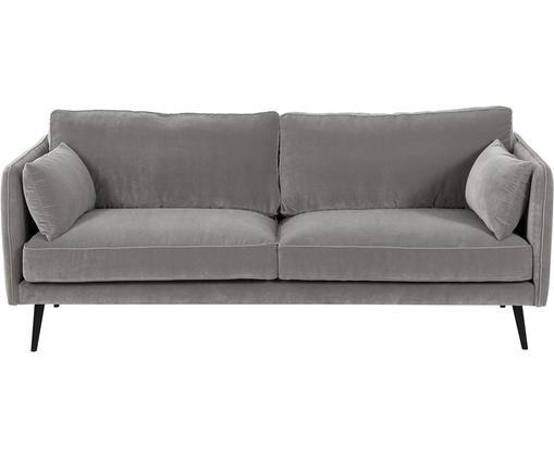 Samt-Sofa Paola (3-Sitzer), Bezug: Samt (Polyester) 70.000 S, Gestell: Massives Fichtenholz, Spa, Füße: Fichtenholz, lackiert, Grau, 209 x 86 cm