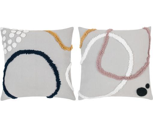 Kissenhüllen-Set Pablo mit abstrakter Verzierung, 2-tlg., 100% Baumwolle, Vorderseite: MehrfarbigRückseite: Weiß, 45 x 45 cm