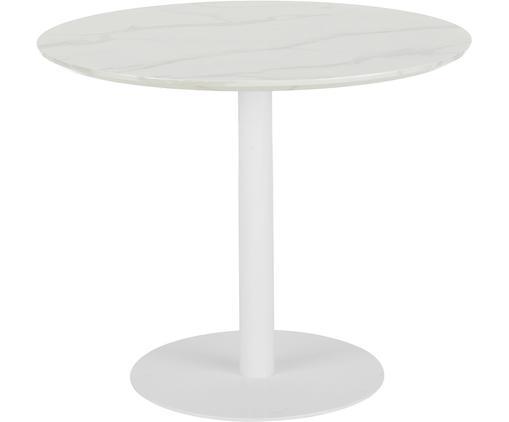 Marmeren ronde eettafel Karla, Tafelblad: MDF, bedekt met gelakt pa, Tafelblad: wit, gemarmerd. Tafelpoot: mat wit, Ø 90 x H 75 cm
