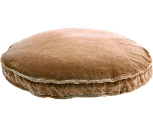 Großes Samt-Sitzkissen Runda, Vorderseite: Baumwollsamt, Rückseite: Baumwolle, Sandfarben, Ø 60 x H 6 cm