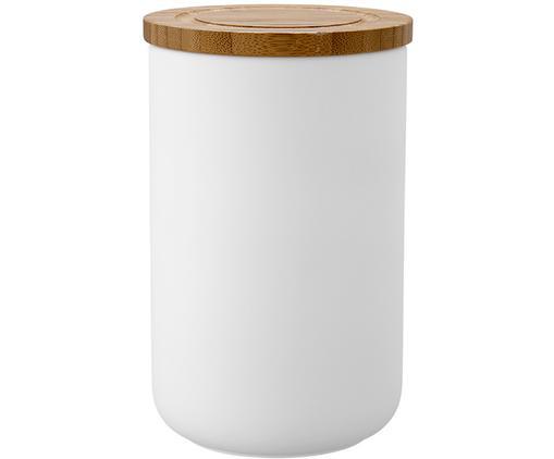 Contenitore Stak, Contenitore: ceramica, Coperchio: legno di bambù, Bianco, bambù, Ø 10 x Alt. 17 cm