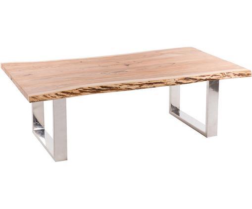 Mesa de centro Amelie, Tablero: Madera de acacia, Patas: Acero inoxidable, Natural, gris, An 135 x Al 45 cm