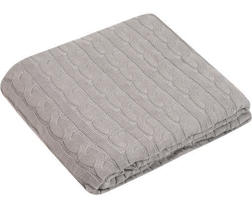 Manta de punto Ida, 100%algodón, Gris claro, An 150 x L 200 cm