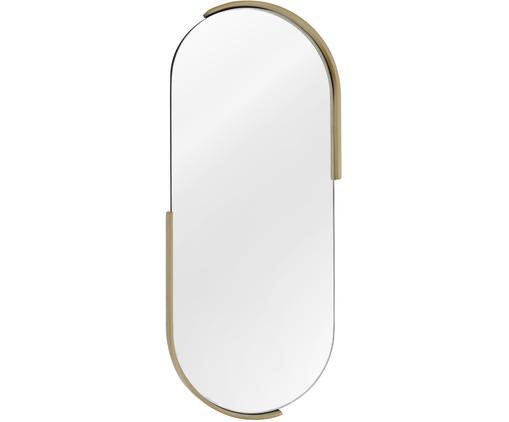 Ovaler Wandspiegel Ava mit gebürstetem Messingrahmen, Rahmen: Metall, vermessingt, Spiegelfläche: Spiegelglas, Rückseite: Mitteldichte Holzfaserpla, Messing, 22 x 52 cm