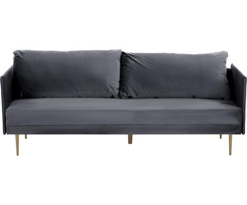 Sofa rozkładana z aksamitu Lauren (3-osobowa), Tapicerka: aksamit (poliester) 2800, Stelaż: drewno sosnowe, Nogi: metal lakierowany, Tapicerka: szary Nogi: odcienie złotego, błyszczący, S 206 x W 87 cm