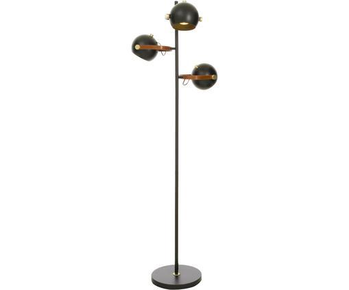 Stehleuchte Bow, Messing, pulverbeschichtet, Kunstleder, Schwarz, Braun, 48 x 152 cm