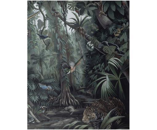 Adesivo murale Tropical Landscape, Vello opaco, ecologica e biodegradabile, Toni verdi, Larg. 142 x Alt. 180 cm