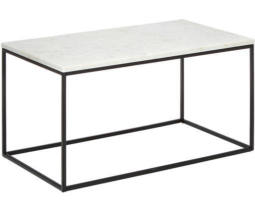 Table basse en marbre Alys, Plateau: marbre blanc-gris Structure: noir, mat