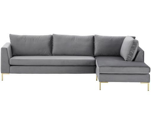 Sofa narożna z aksamitu Luna, Tapicerka: aksamit (100% poliester) , Stelaż: lite drewno bukowe, Nogi: metal galwanizowany, Ciemnyszary, S 280 x G 184 cm