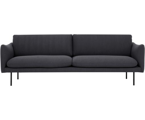 Sofa Moby (3-Sitzer), Bezug: Polyester 60.000 Scheuert, Gestell: Massives Kiefernholz, Füße: Metall, pulverbeschichtet, Webstoff Dunkelgrau, B 220 x T 95 cm