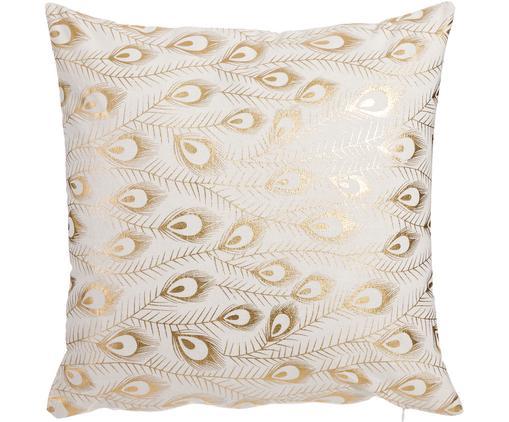 Kissen Lindsey mit goldenen Pfauenfedern, mit Inlett, Bezug: Polyester, Weiß, Goldfarben, 45 x 45 cm