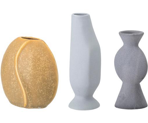 Set 3 vasi fatto a mano Lubava, Terracotta, Giallo, grigio chiaro, grigio, Diverse dimensioni