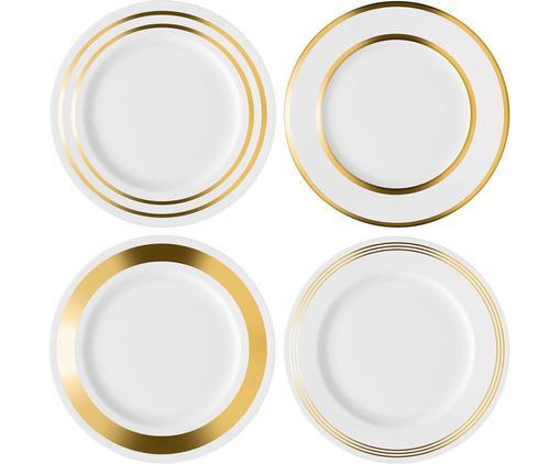 Ensemble d'assiettes plates Deco, 4élém., Blanc, couleur dorée