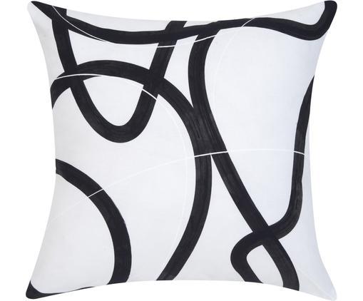 Housse de coussin imprimé abstrait Elijah, Beige, noir, blanc