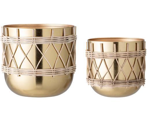 Komplet osłonek na doniczkę Samin, 2 elem., Metal powlekany, Odcienie złotego, Różne rozmiary