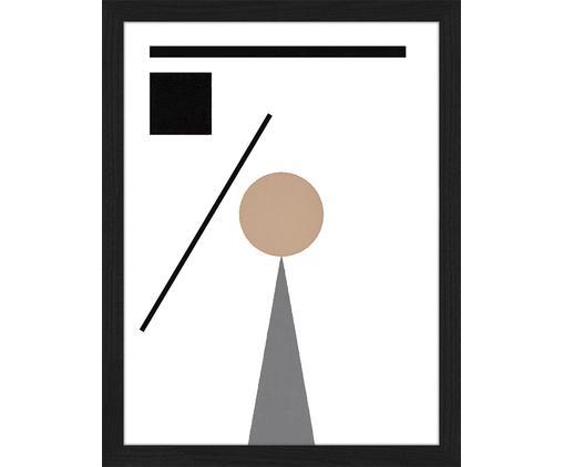 Stampa digitale incorniciata Abstract Minimalist, Cornice: legno di faggio verniciat, Immagine: stampa digitale su carta,, Nero, beige, bianco, grigio, Larg. 33 x Alt. 43 cm