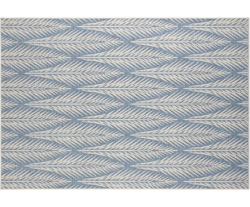Design In- und Outdoorteppich Pella mit grafischem Muster, Polypropylen, Blau, Beige, B 140 x L 200 cm (Größe S)