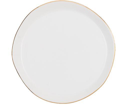 Brotteller Good Morning in Weiß mit Goldrand, Porzellan, Weiß, Goldfarben, Ø 17 cm