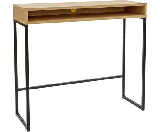 Wąskie biurko Frame, Korpus: płyta pilśniowa (MDF), fo, Nogi: metal malowany proszkowo, Drewno dębowe, S 100 x G 35 cm