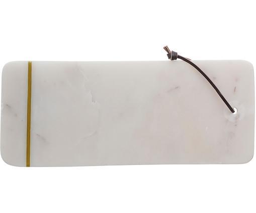 Tagliere in marmo Strip, Bianco, dorato, L 37 x P 15 cm